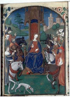La Philosophie tronant, enluminure du XVème siècle pour illustrer la Cité de Dieu de St Augustin