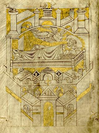 Cartulaire du Mont Saint-Michel: la vision de Saint Aubert.