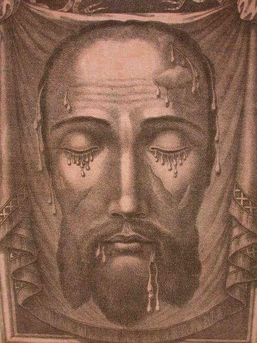 La gravure de la Sainte Face diffusée après le miracle et vénérée par Monsieur Dupont