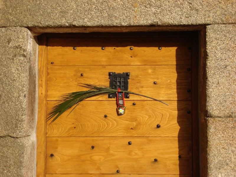 Palme bénite à la porte du Mesnil-Marie