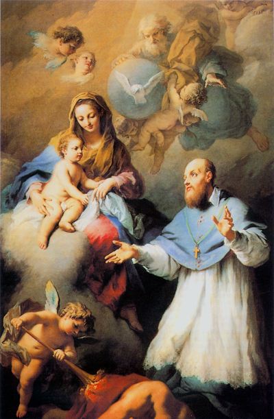 Saint François de Sales aux pieds de la Très Sainte Vierge