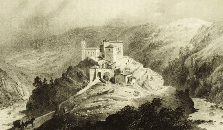 Gravure ancienne du site de Notre-Dame d'Ay