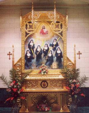 Autel où sont conservées les reliques des Sept Bienheureuses Visitandines Martyres