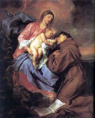Saint Antoine de Padoue recevant l'Enfant Jésus des mains de Marie