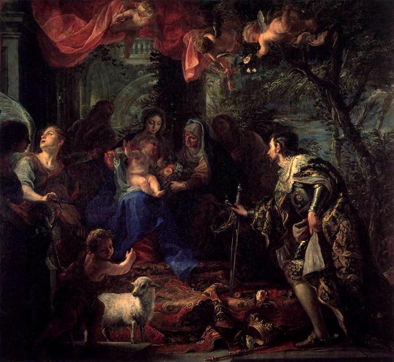 Saint Louis adorant l'Enfant Jésus que lui présente la Vierge