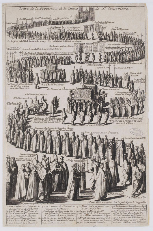 Gravure datée probablement de 1709 : ordre de procession de la châsse de Ste Geneviève