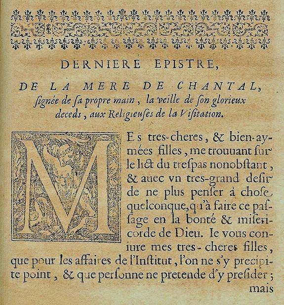 Dernière lettre de Ste Jeanne de Chantal