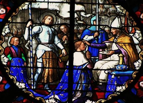 Le sacre de Charles VII (d'étail d'un vitrail de l'église de Saint-Philbert-de-Grand-Lieu)