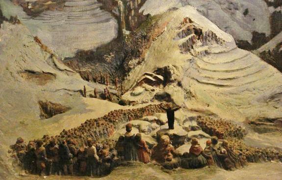 Saint Régis prêchant en plein air dans un paysage hivernal