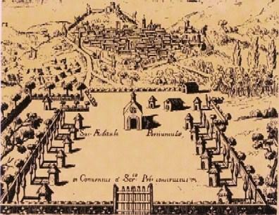 Gravure ancienne de la Portioncule avant l'édification de la basilique