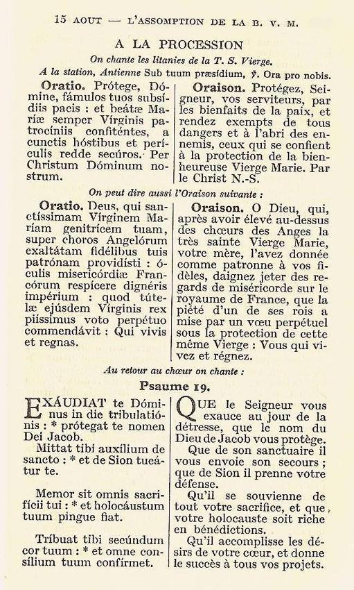 Textes pour la procession du voeu de Louis XIII