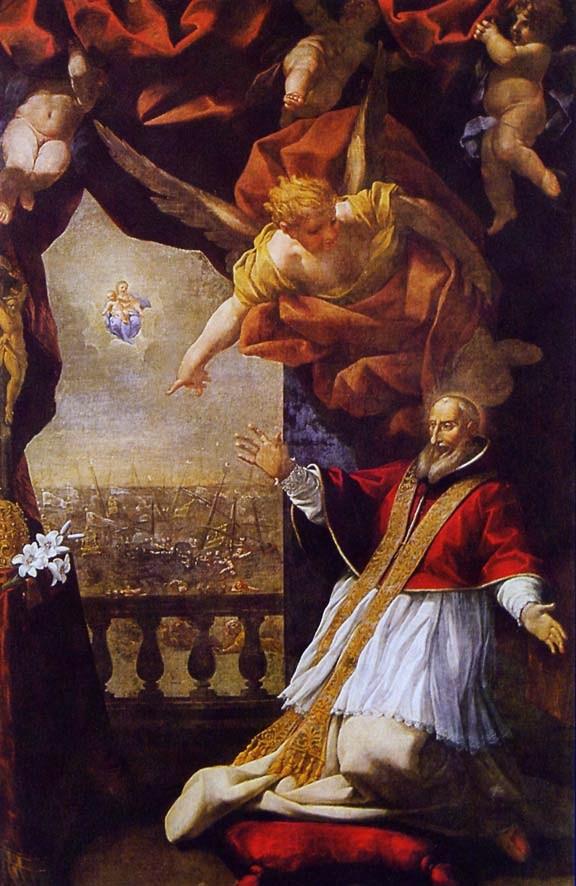 Lazzaro baldi : St Pie V en prière reçoit la révélation de la victoire de Lépante