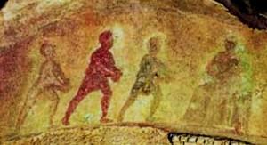 2011-93. Histoire de la dévotion à la Crèche. dans De liturgia Adoration-mages-catacombes-Priscille1-300x163