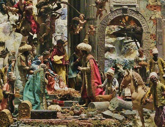 Rome, crèche de la basilique des Saints Côme et Damien au forum