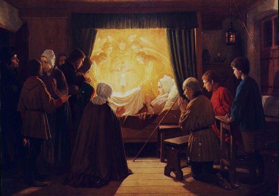 Dunselman l'Enfant Jésus apparait à Lydwine dans la Sainte Hostie
