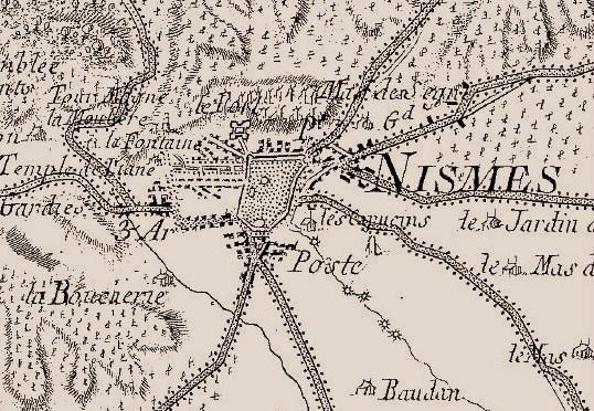 Nîmes, détail de la carte de Cassini