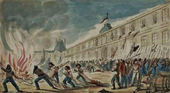 10 août 1792 - les corps des Suisses outragés et brûlés