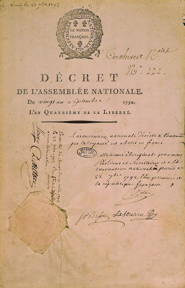 décret du 21 sept 1792
