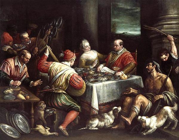 le-banquet-du-mauvais-riche-et-le-pauvre-lazare-v.1595-leandro-bassano apparences trompeuse dans Nos amis les Saints