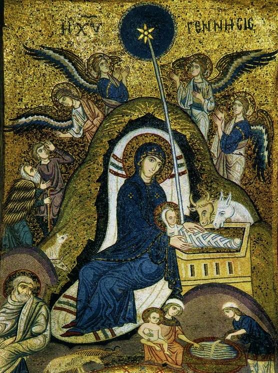 O Miracle qui dépasse tout miracle! dans De Maria numquam satis nativite-mosaique-palerme-santa-maria-dellammiraglio