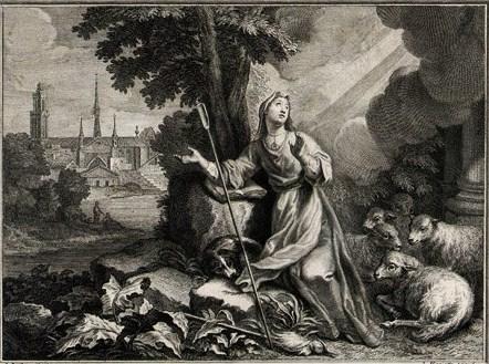 Prières et litanies en l'honneur de Sainte Geneviève. dans De liturgia sainte-genevieve-gravure-xviiie-siecle