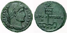 monnaie de Constantin avec le labarum