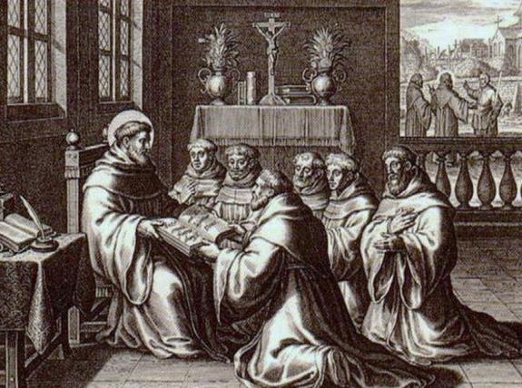 Saint Augustin remettant la Règle à ses disciples