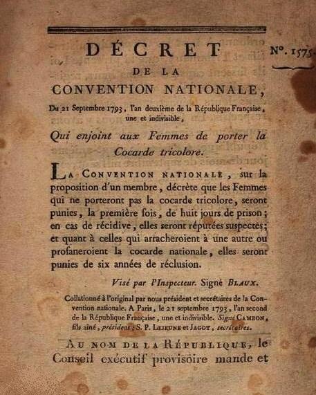 2013-70. Les femmes qui ne porteront pas la cocarde tricolore seront punies. dans Commentaires d'actualité & humeurs decret-du-21-septembre-1793