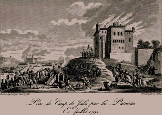 prise et incendie de Jalès juillet 1792