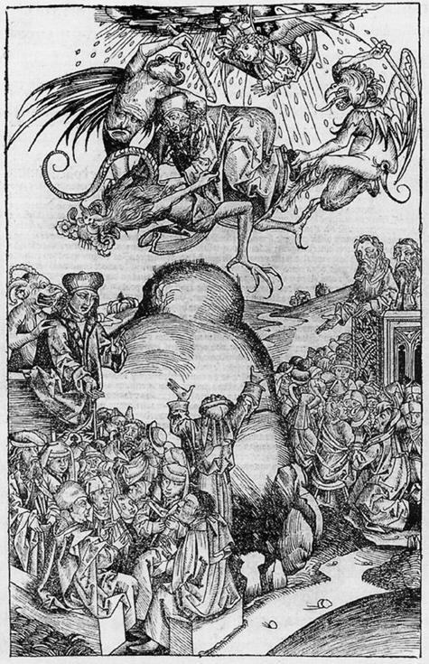 Michael Wolgemut : prédication et chute de l'Antéchrist (1493)