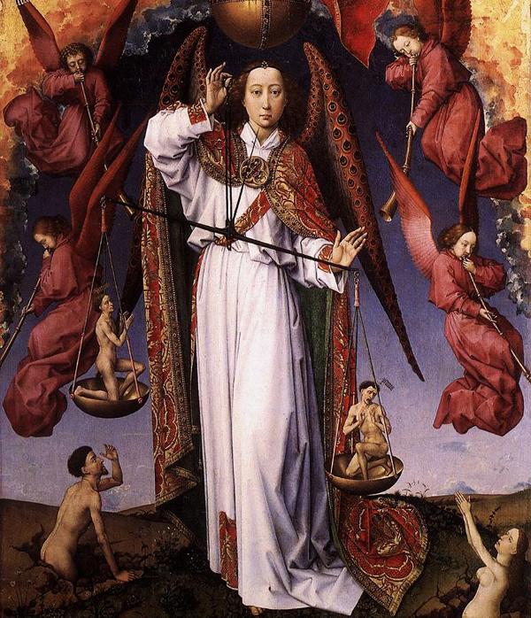 Rogier van der Weyden Beaune triptyque du jugement détail la pesée des âmes