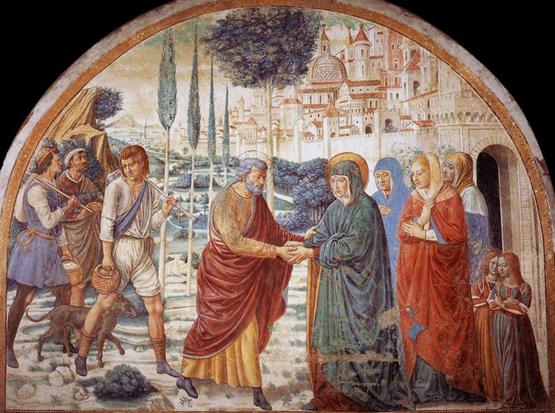 Benozzo Gozzoli la  rencontre à la porte dorée - fresque Castelfiorentino