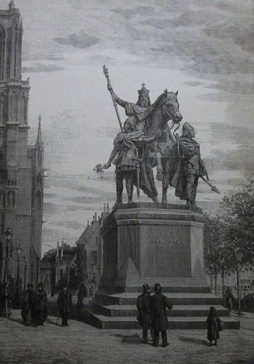 Statue du parvis de Notre-Dame gravure