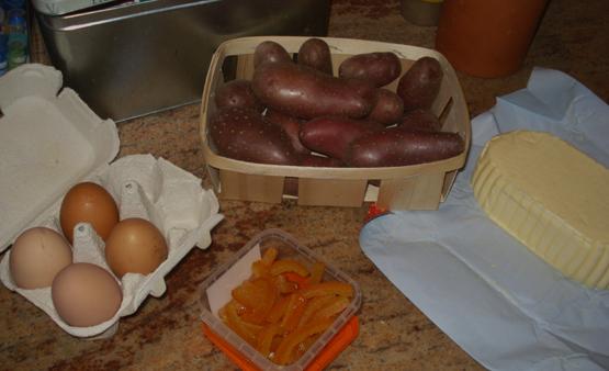 Ingrédients gâteau pommes de terre