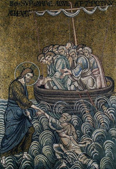 Le Christ tirant Pierre des flots - cathédrale de Monreale
