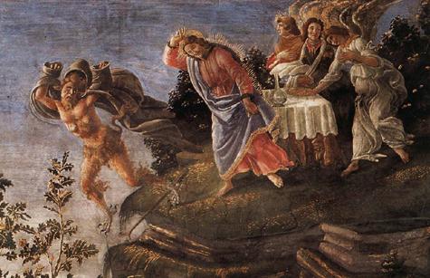 Boticelli tentations détail (chapelle sixtine)