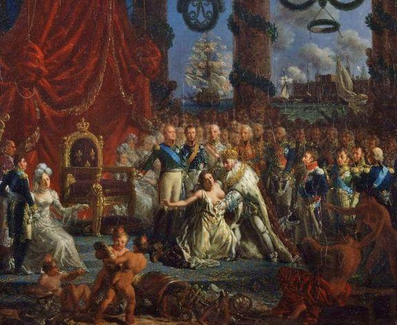 allégorie du retour des Bourbons 1814 Louis XVIII relevant la France - Louis-Philippe Crépin