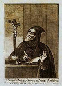 Gravure du XVIIe siècle représentant St Augustin en habit monastique