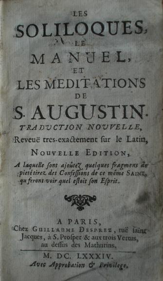 Soliloques de St Augustin 1684