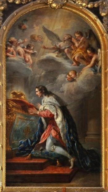 tableau de Saint Louis par François Lemoyne 1727 cathédrale de Versailles