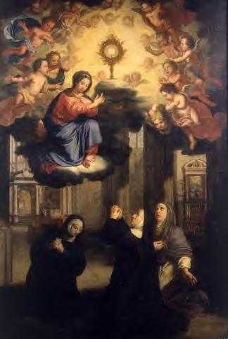 Englebert Fisen 1690 Stes Julienne, Eve & Isabelle de Huy adorant le St Sacr. présenté par la Vierge - liège collégiale St martin
