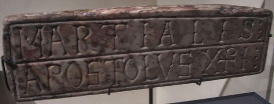 Inscription lapidaire du tombeau de St Martial au musée des beaux arts de Limoges