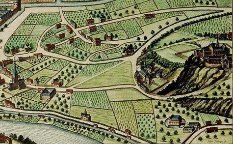 Liège le Mont Cornillon et les 4 couvents de la maladrerie en 1649