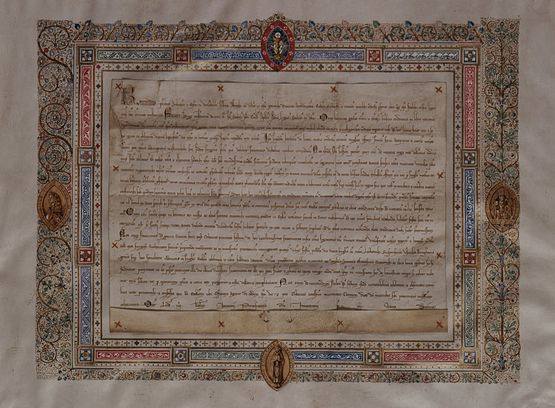 Parchemin d'institution de la Fête-Dieu Hugues de St-Cher 12 déc 1252 -Liège Musée du GrandCurtius