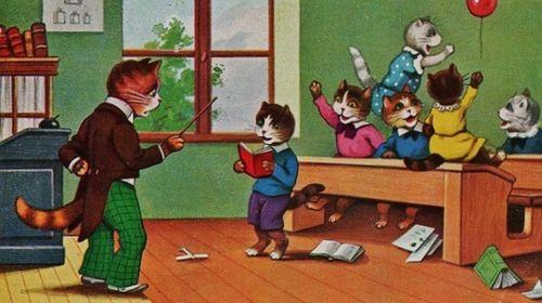Leçon de grammaire à l'école des chats