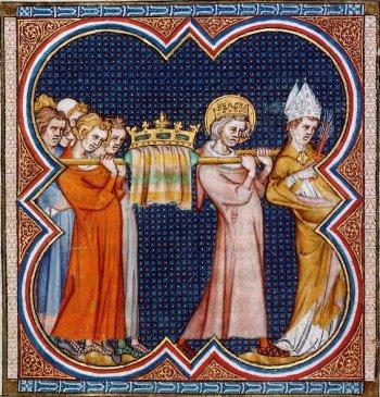 Saint Louis portant le reliquaire de la  sainte Couronne d'Epines