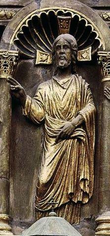 Venise, basilique St-Marc anonyme vers 1200-30 sculpture sur pierre détail - le Christ enseignant