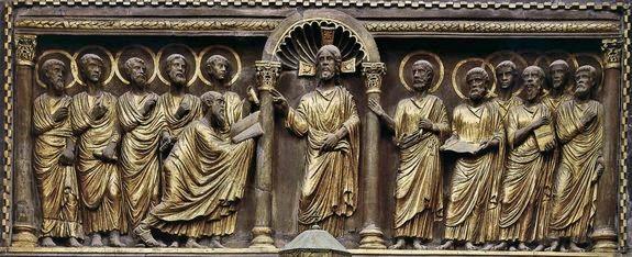 Venise, basilique St-Marc anonyme vers 1200-30 sculpture sur pierre - le Christ enseignant les 12 apôtres