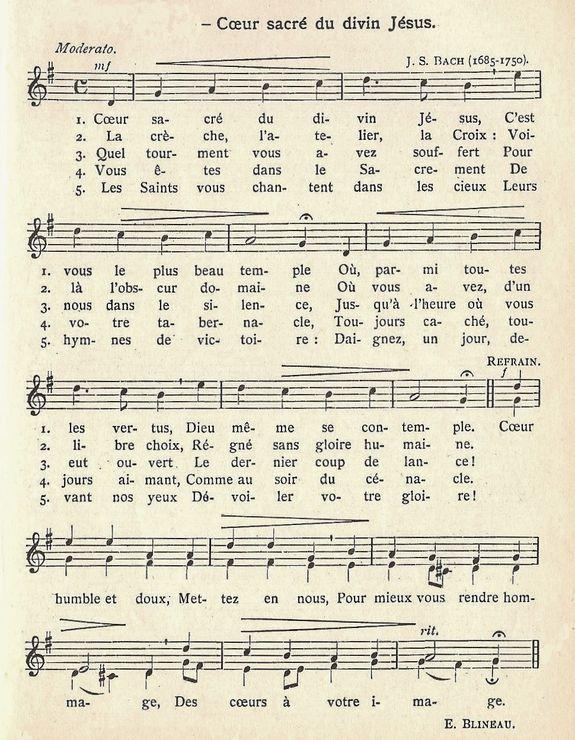 Cantique Coeur Sacré du divin Jésus
