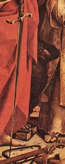 Raphaël l'extase de Sainte Cécile détail l'épée de Saint Paul et l'aigle de Saint Jean